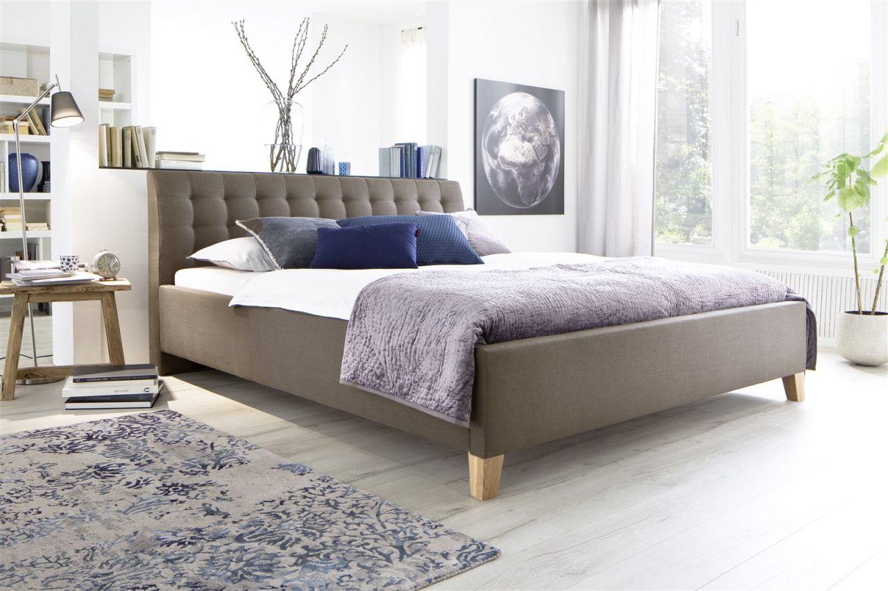 Astounding Polsterbett 180x200 Dekoration Von Bett Doppelbett -dennis -180x200 Cm Stoffbezug Braun/beige