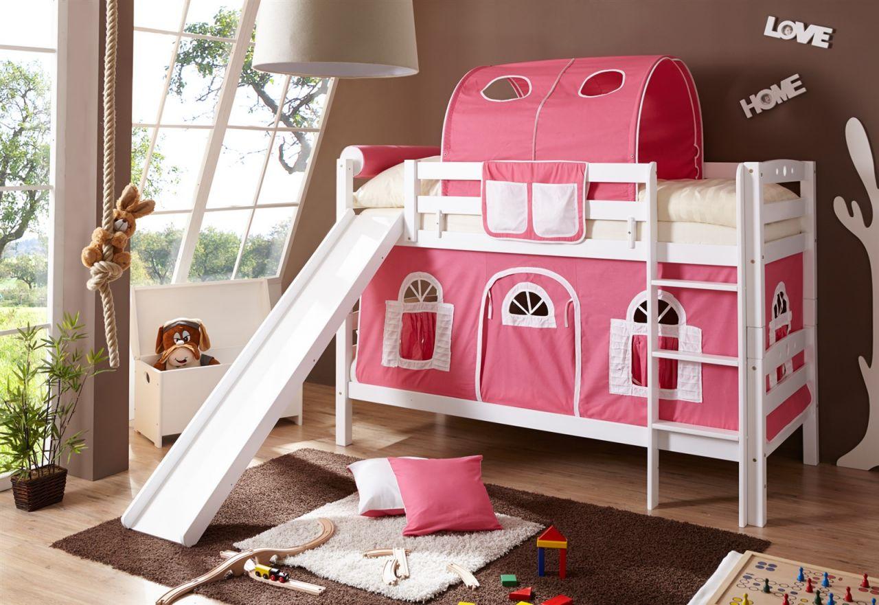 Etagenbett Weiss : Etagenbett oli mit rutsche buche weiss inkl.vorhang rosa