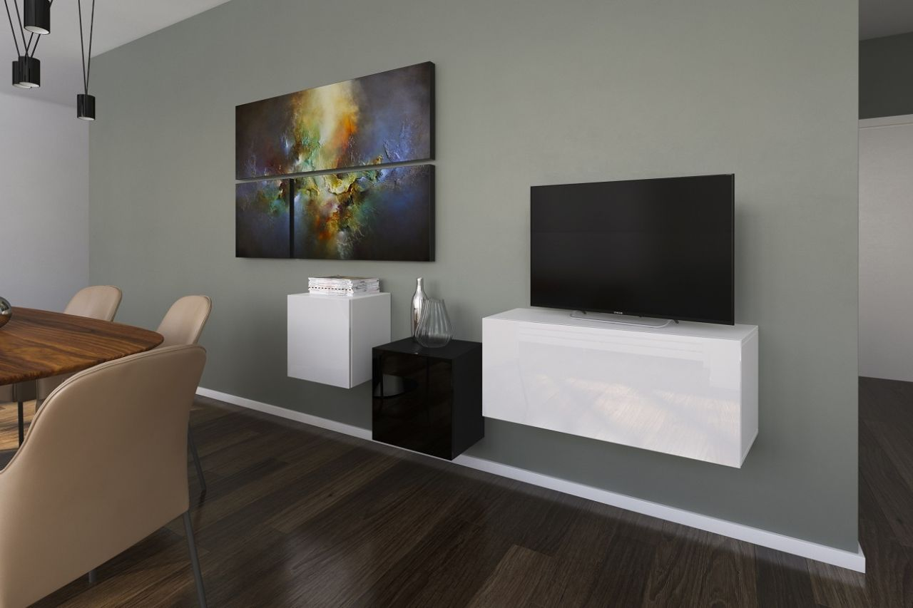 mediawand wohnwand 3 tlg nexi 5 weiss schwarz hochglanz kaufen bei sylwia lesniewska fun. Black Bedroom Furniture Sets. Home Design Ideas