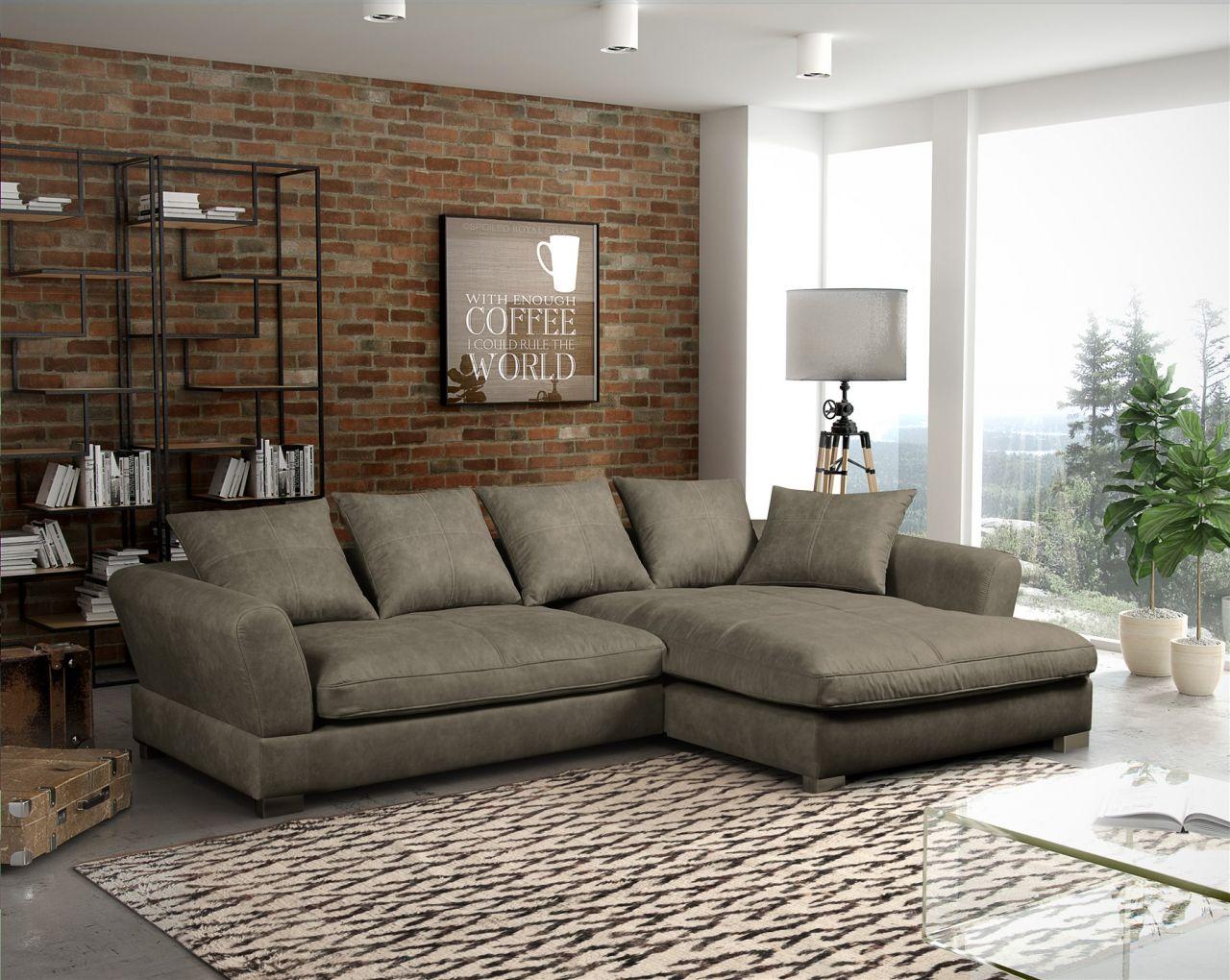 couchgarnitur tizian l form in wildlederoptik grau. Black Bedroom Furniture Sets. Home Design Ideas