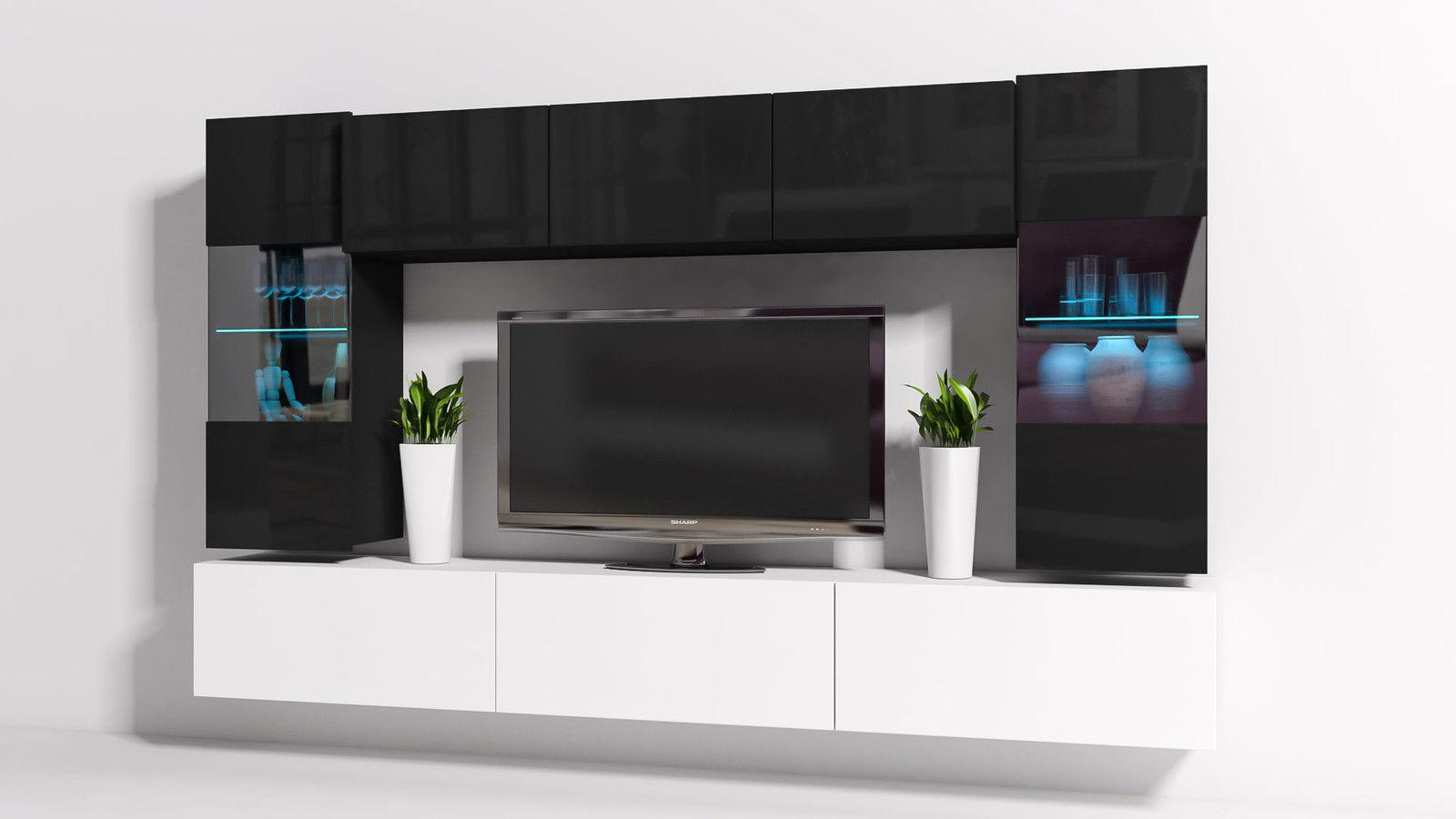 wohnwand schwarz hochglanz led wohnwand hochglanz schwarz. Black Bedroom Furniture Sets. Home Design Ideas