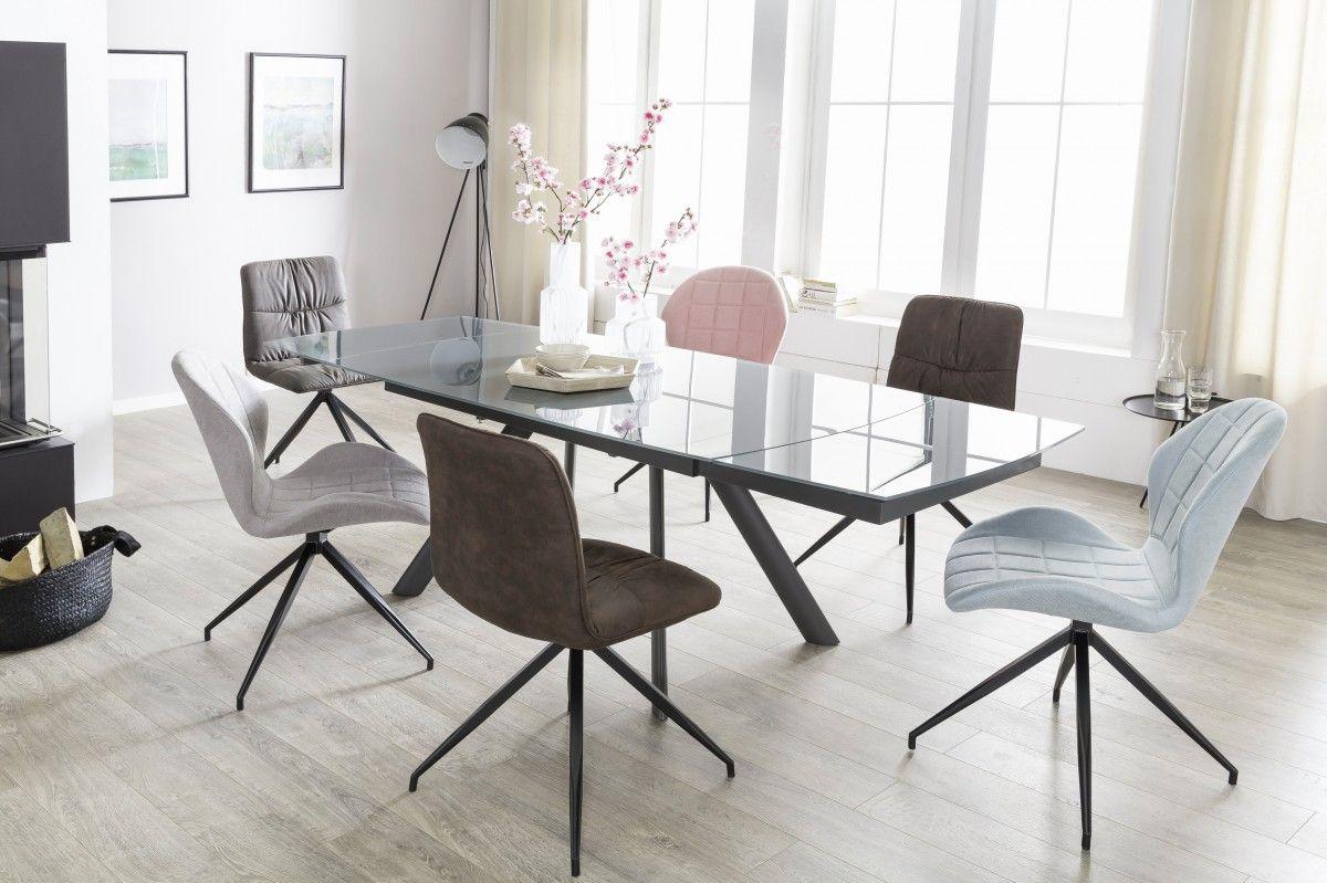 esstisch ausziehbar dunkelgrau metall glas moden 160. Black Bedroom Furniture Sets. Home Design Ideas