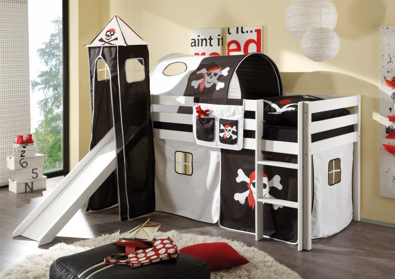 Etagenbett Set : Stoff set 4.tlg pirat schwarz für spielbett hochbett etagenbett