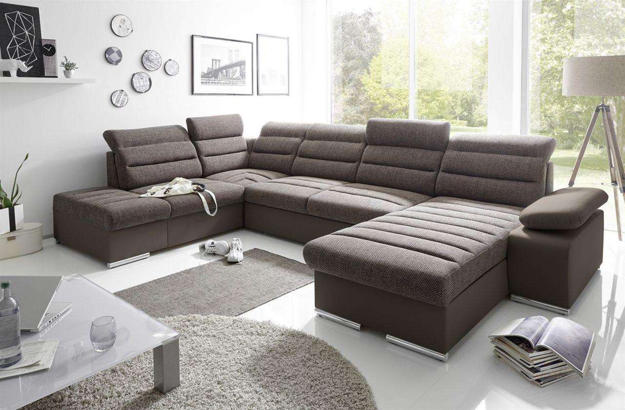 Couchgarnitur PASCARA U-Form mit Schlaffunktion-Braun ...