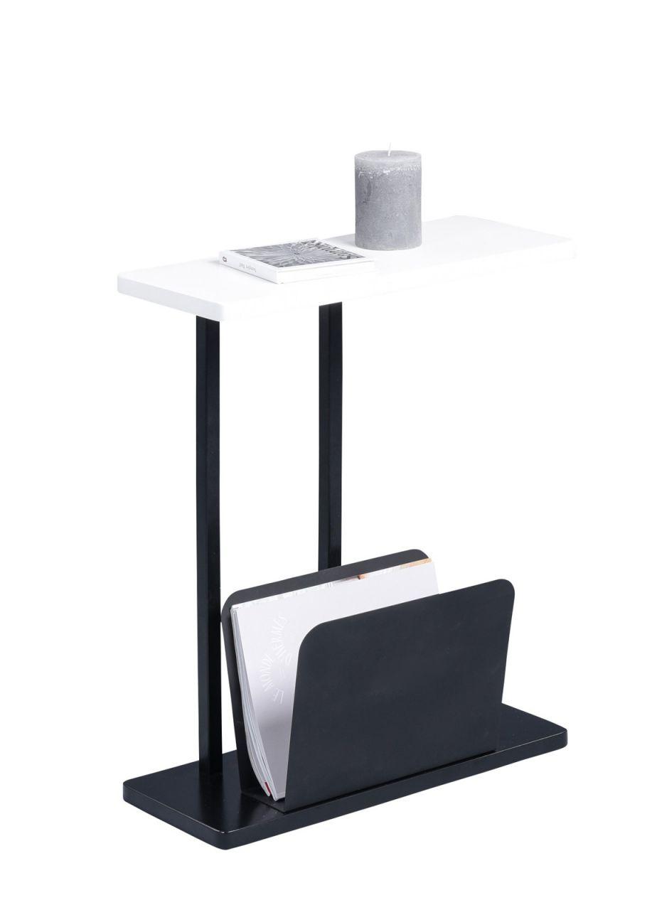 Beistelltisch Tisch Ingo 50x20cm Inkl Zeitungsablage Dekor Weiss