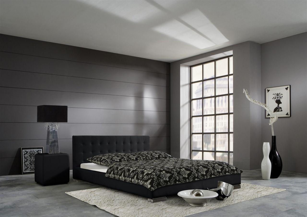 Polsterbett Bett Doppelbett Tagesbett - BONI - 180x200 cm Schwarz ...