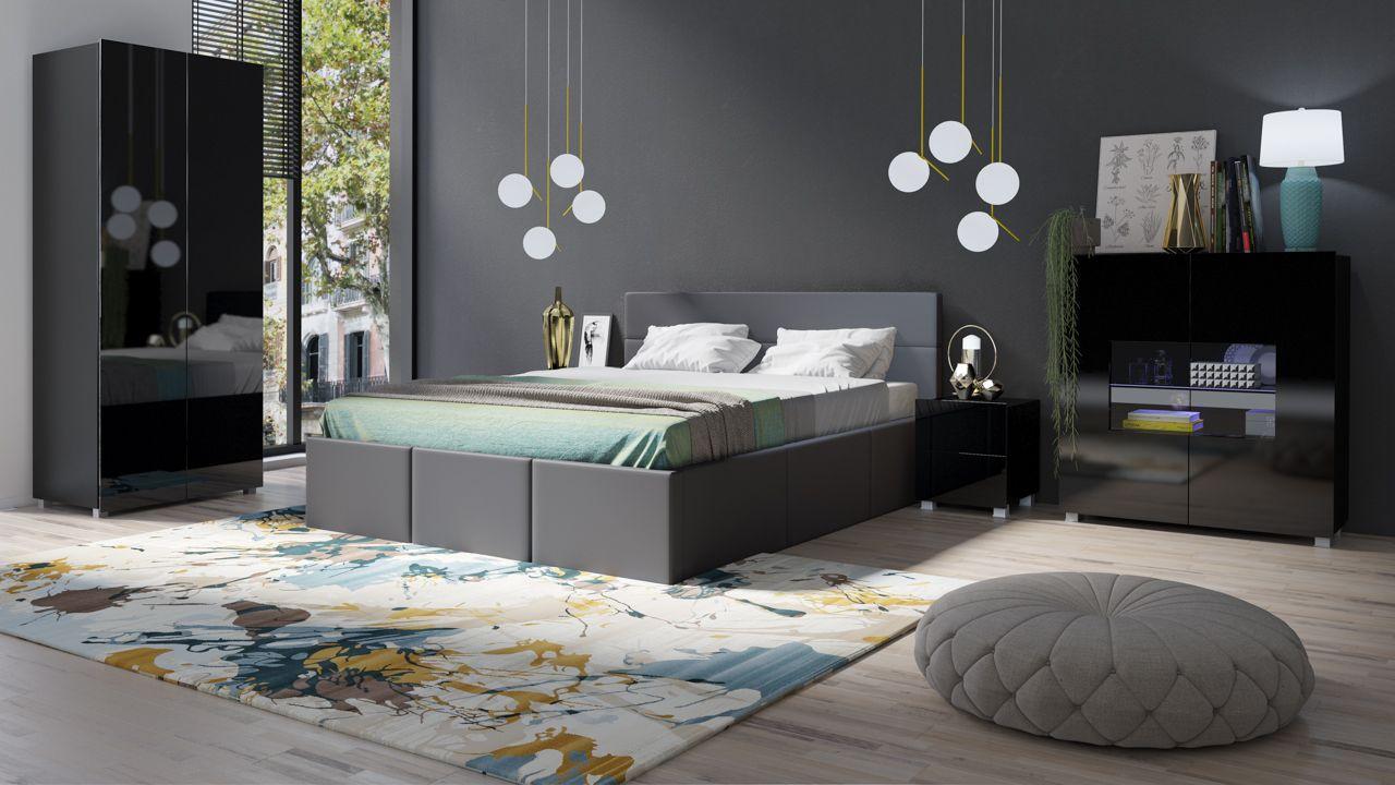 Schlafzimmer Komplett Set 5 tlg LABRI Grau- Schwarz Hochglanz