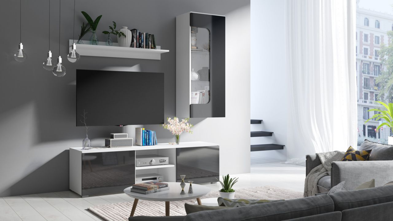 wohnwand schrankwand 3 tlg linus weiss schwarz hochglanz. Black Bedroom Furniture Sets. Home Design Ideas