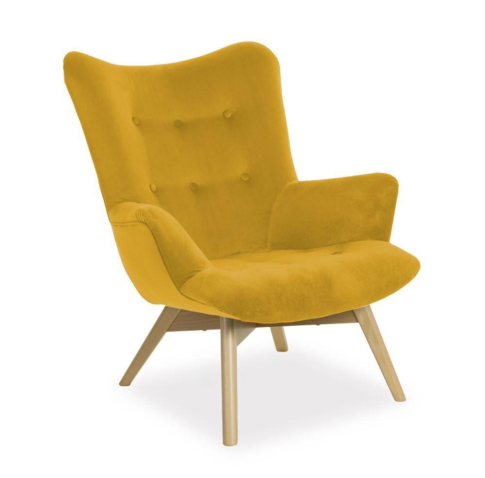 Sessel Ohrensessel Wohnzimmersessel Portland Stoff Gelb Kaufen Bei