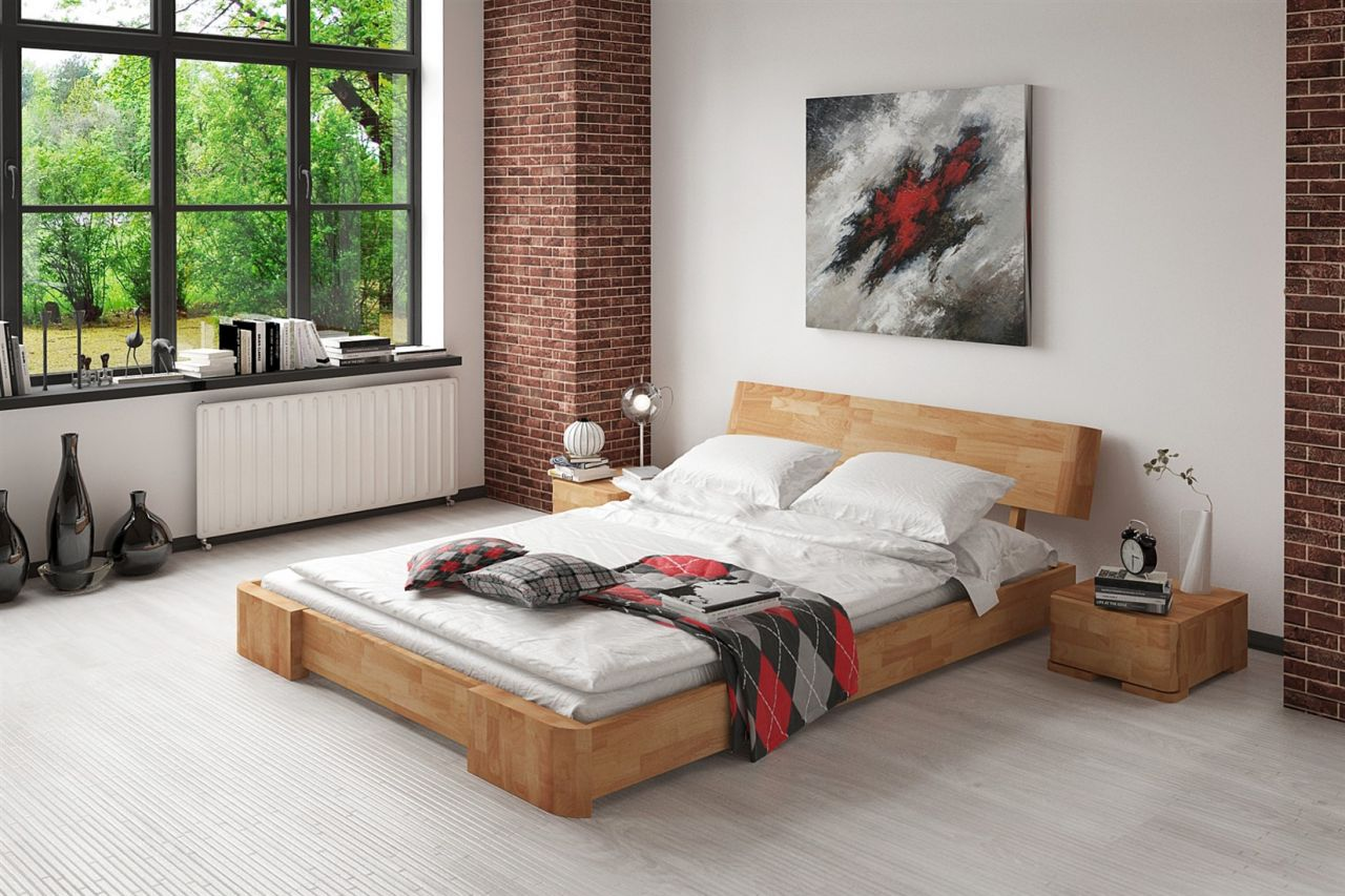 Massivholzbett Bett Schlafzimmerbett Mesa Eiche Massiv 90x200 Cm