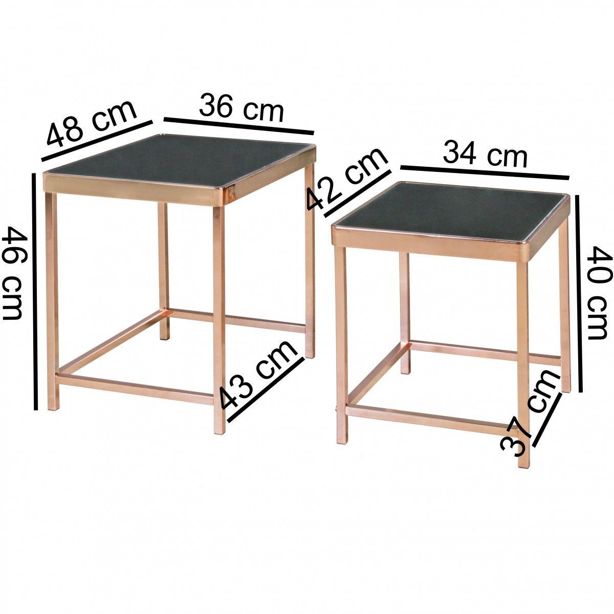satztisch couchtisch charms metall glas schwarz kupfer 2. Black Bedroom Furniture Sets. Home Design Ideas