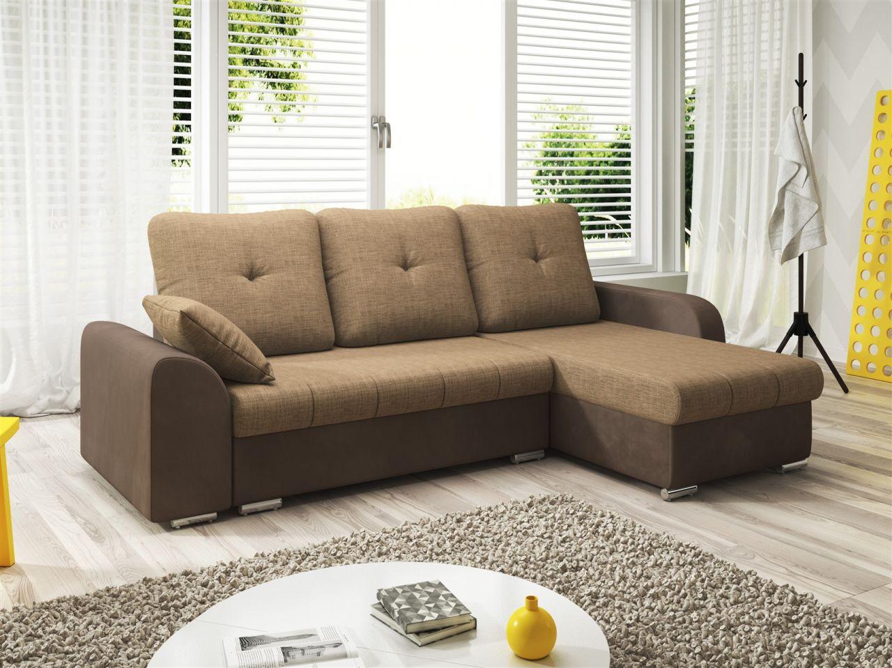ecksofa sofa dekos mit schlaffunktion braun beige. Black Bedroom Furniture Sets. Home Design Ideas