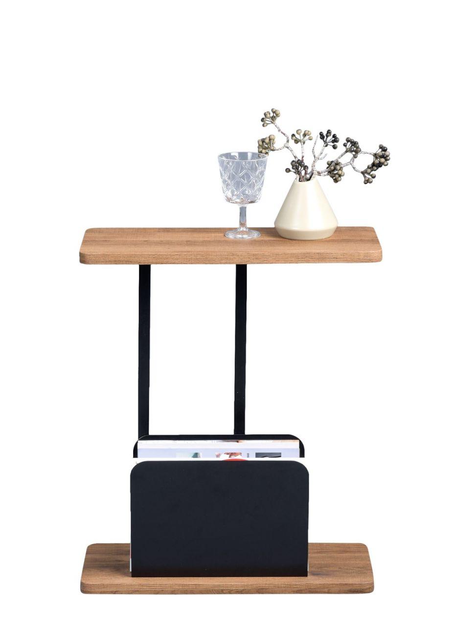 Beistelltisch Tisch Ingo 50x20cm Inkl Zeitungsablage Dekor Eiche