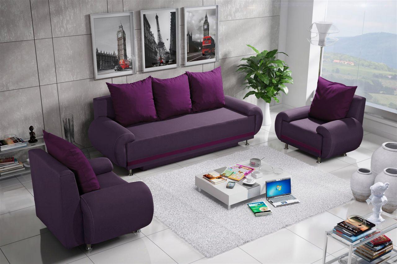 Sofa Set Mika 3 1 1 Sofagarnitur In Polyesterstoff Violett Kaufen