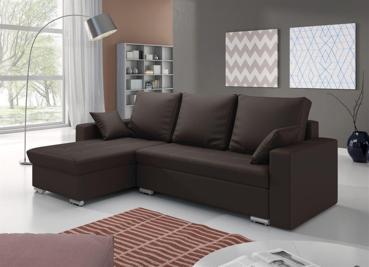 ecksofa sofa adara mit schlaffunktion kunstleder braun. Black Bedroom Furniture Sets. Home Design Ideas
