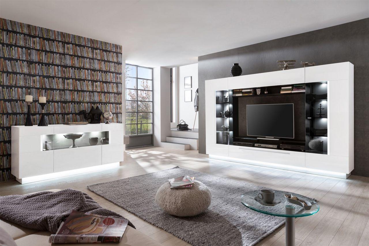 mediawand wohnwand city hochglanz weiss melamin. Black Bedroom Furniture Sets. Home Design Ideas