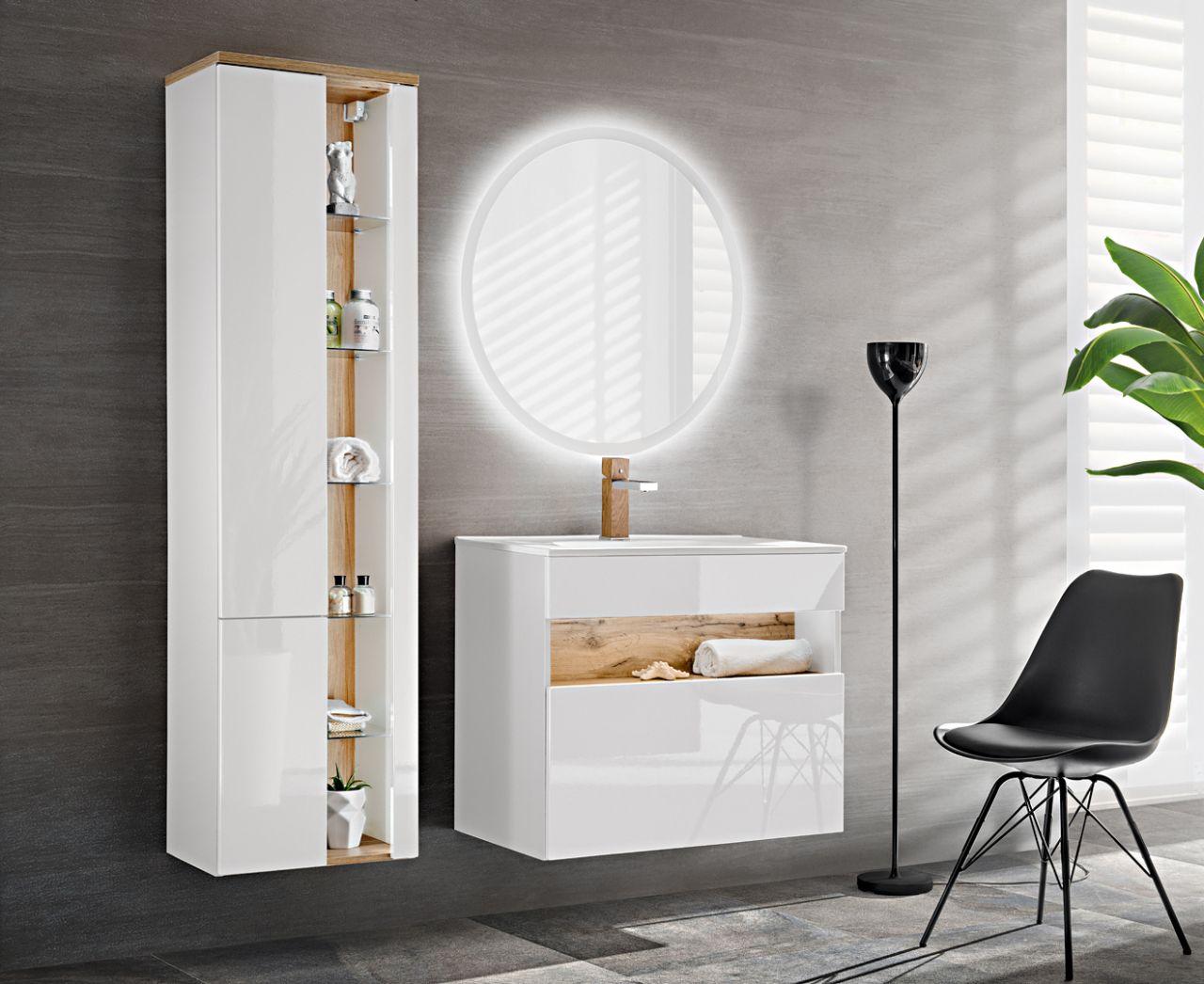 Badmobel Set 3 Tlg Badezimmerset Varese Weiss Inkl Waschtisch 80cm