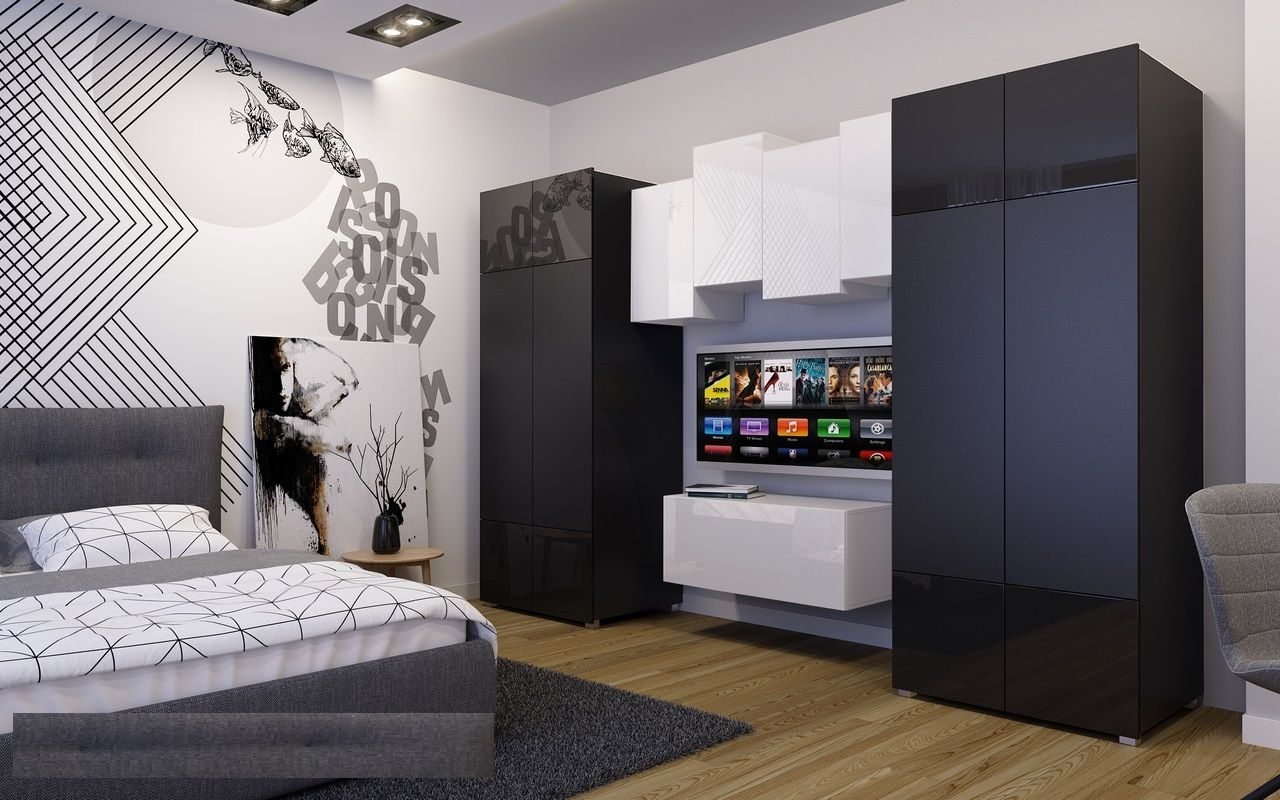 anbauwand wohnwand 7 tlg bristol schwarz weiss. Black Bedroom Furniture Sets. Home Design Ideas