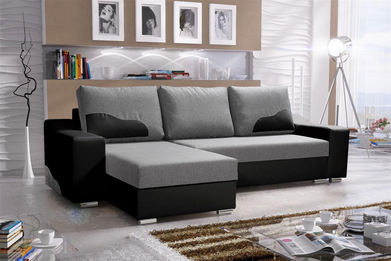 ecksofa sofa collin mit schlaffunktion schwarz hellgrau. Black Bedroom Furniture Sets. Home Design Ideas