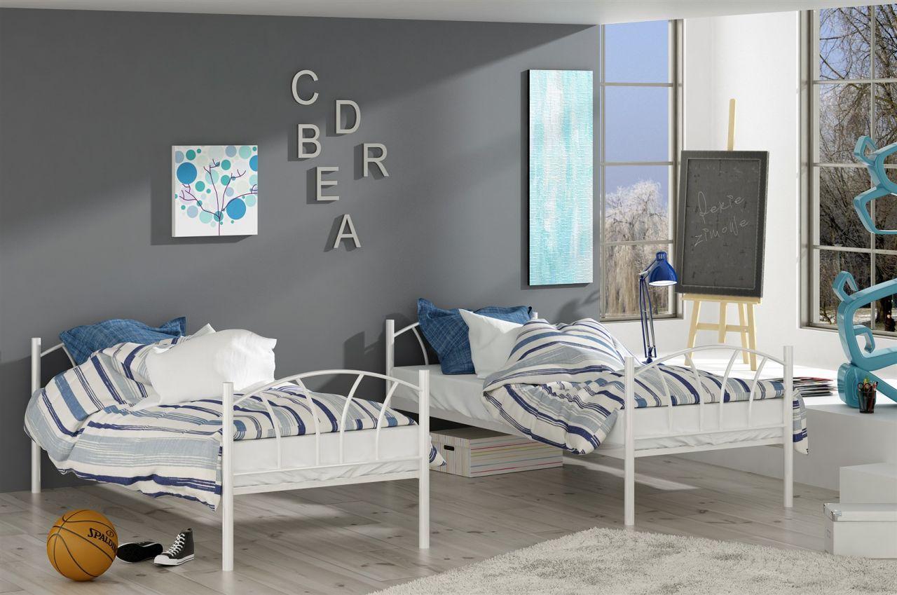 Etagenbett 3 Personen Metall : Metallbett lady weiß hochbett in zwei einzelbetten teilbar