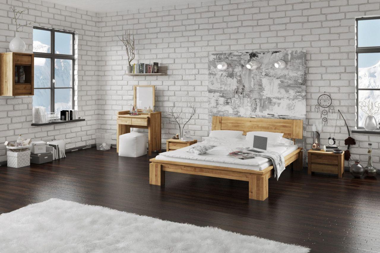Massivholzbett Schlafzimmerbet Maison Xl Eiche Massiv 100x200 Cm