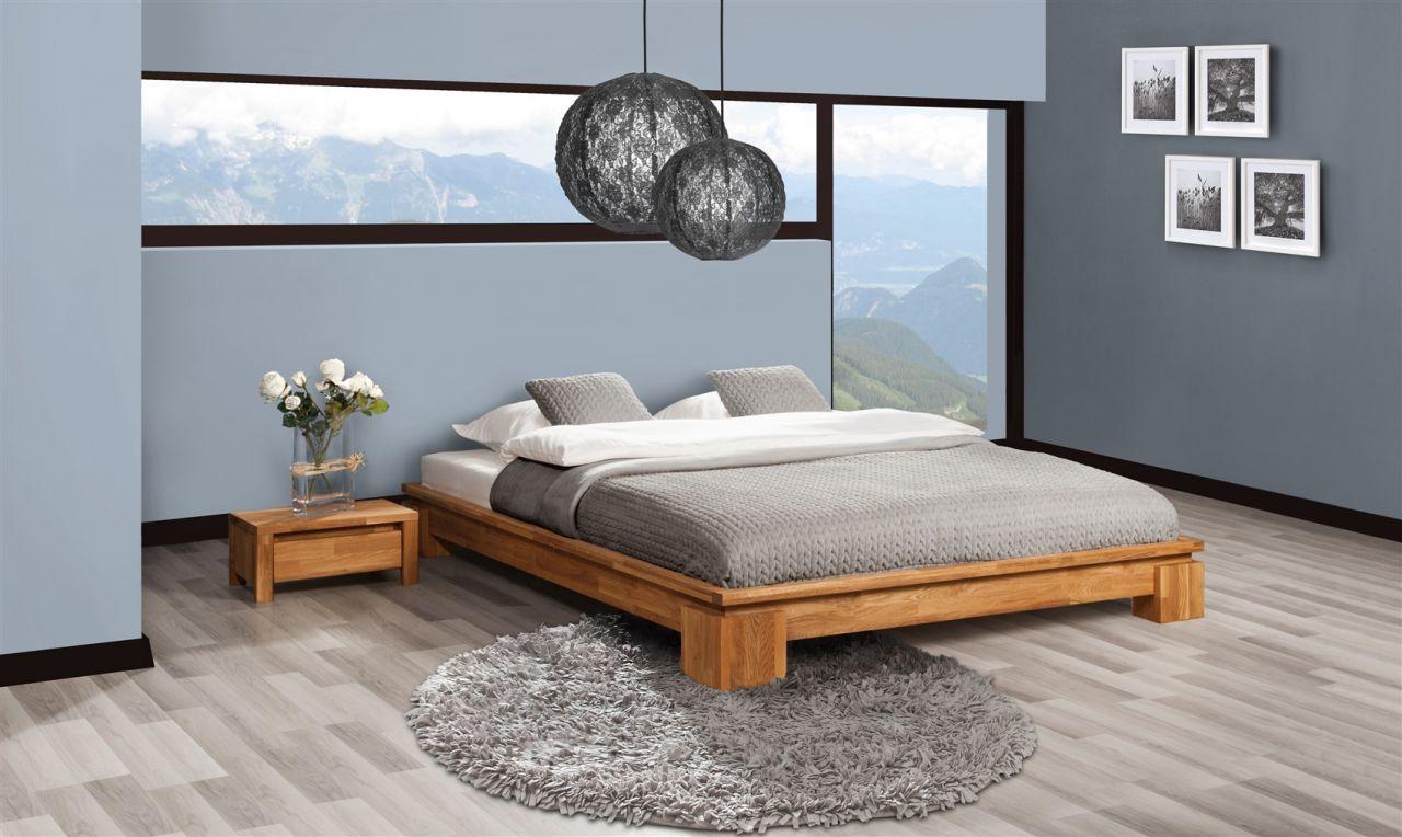 Futonbett Bett Schlafzimmerbet Maison Eiche Massiv 200x200 Cm