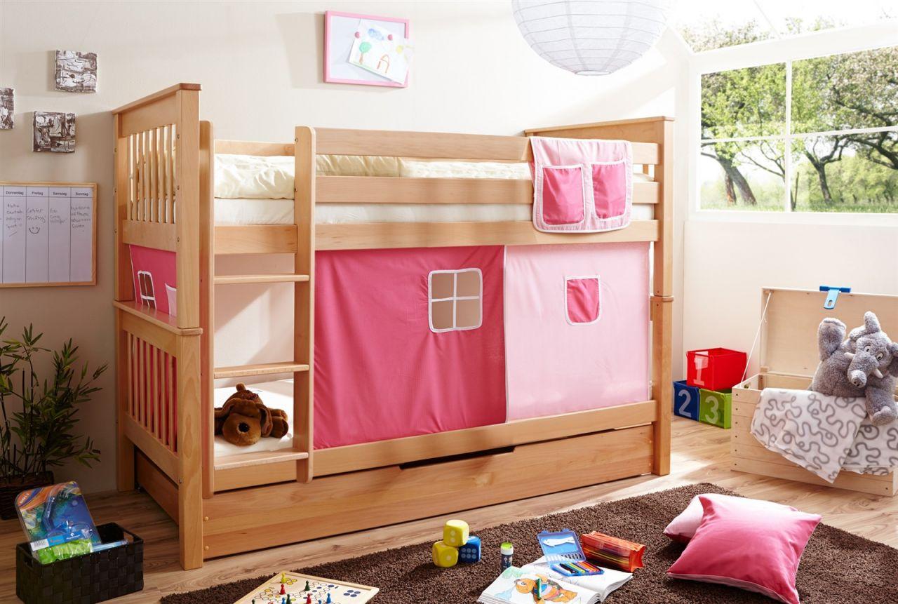 Etagenbett Vorhang : Etagenbett hochbett levin buche massiv natur inkl vorhang rosa