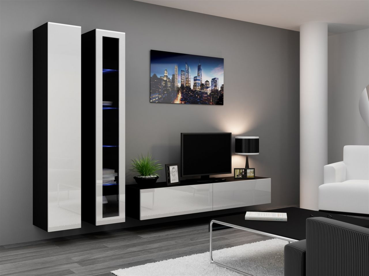 mediawand wohnwand 3 tlg sentic 15 schwarz weiss. Black Bedroom Furniture Sets. Home Design Ideas