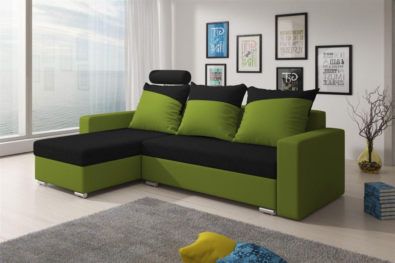 Schön Sofa Grün Ideen Von Ecksofa Nora Mit Schlaffunktion Lim..grün/schwarz Ottomane Links