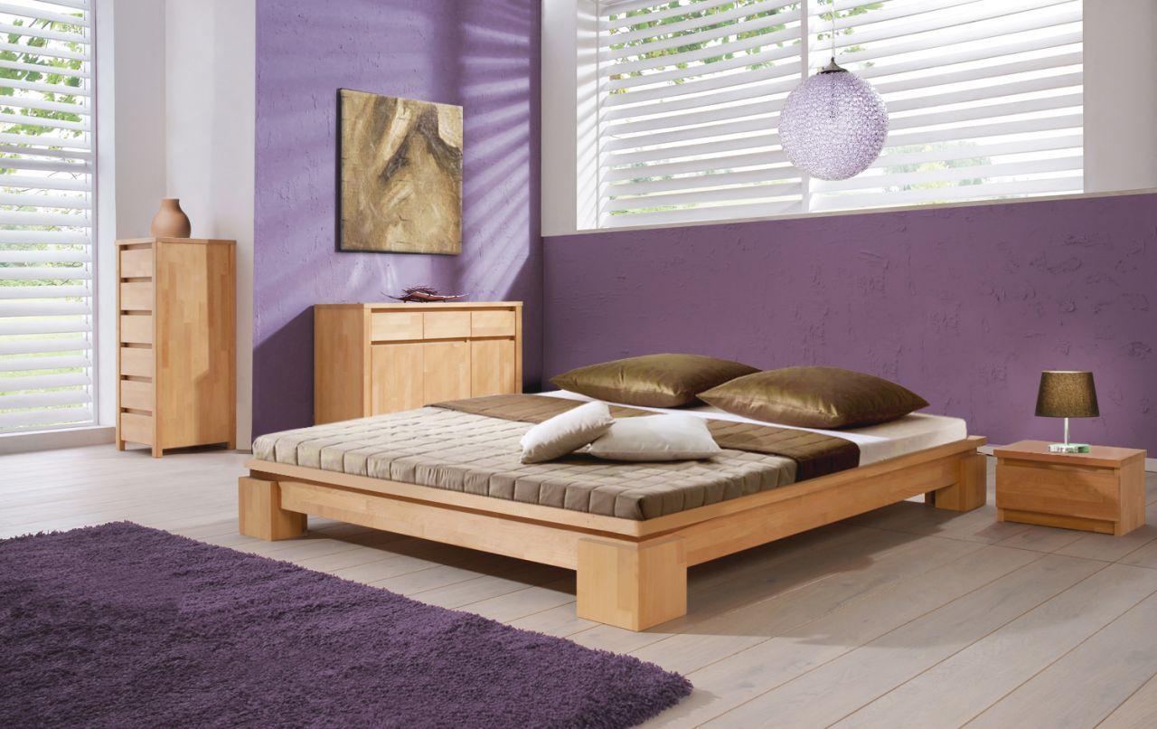 Futonbett Bett Schlafzimmerbet Maison Buche Massiv 200x200 Cm