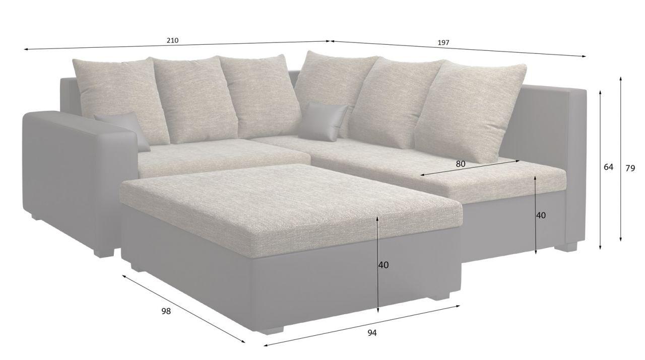 ecksofa sofa nina inkl hocker weiss grau ottomane rechts. Black Bedroom Furniture Sets. Home Design Ideas