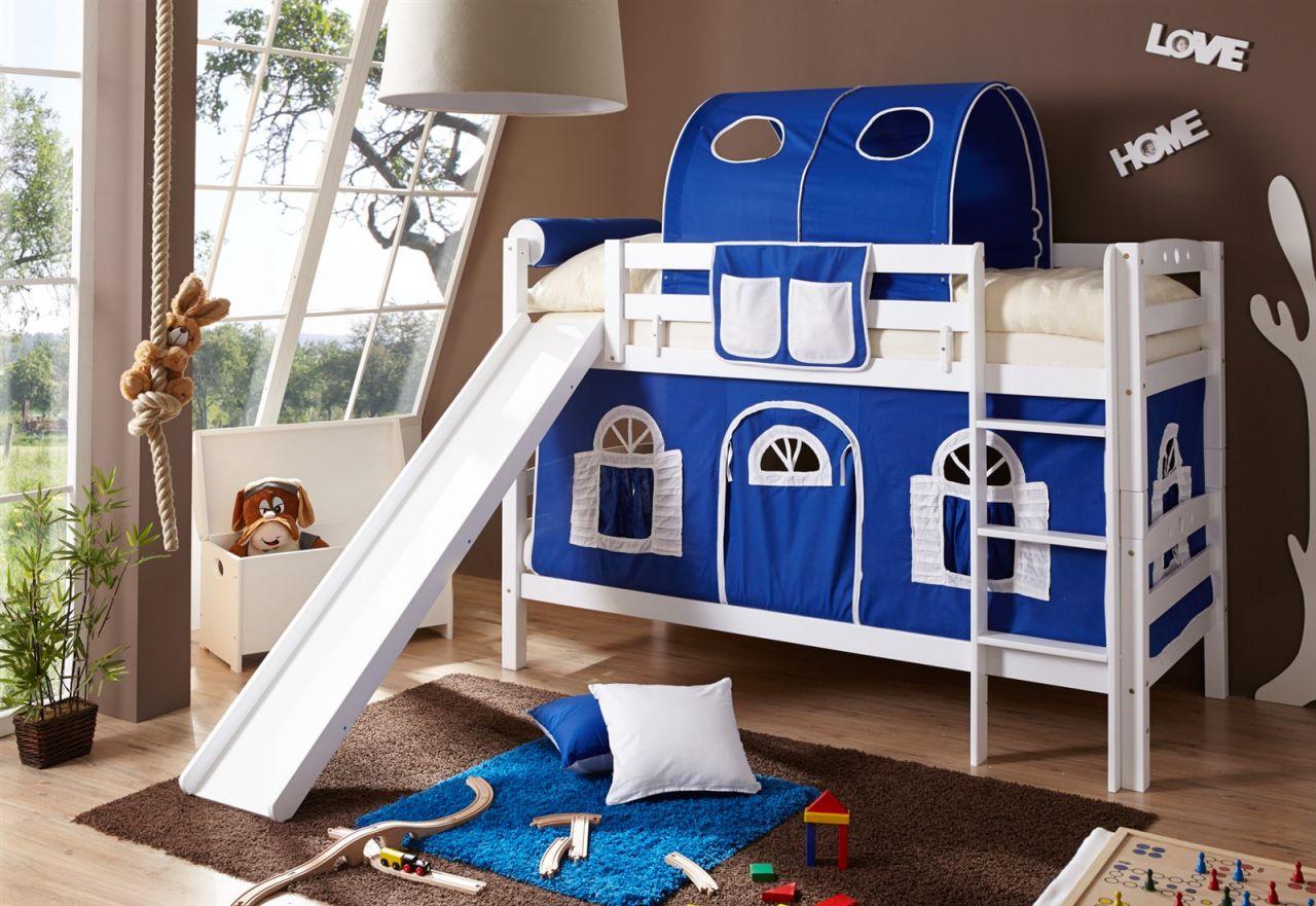 Etagenbett Teilbar Mit Rutschen : Etagenbett oli mit rutsche buche weiss inkl vorhang blau