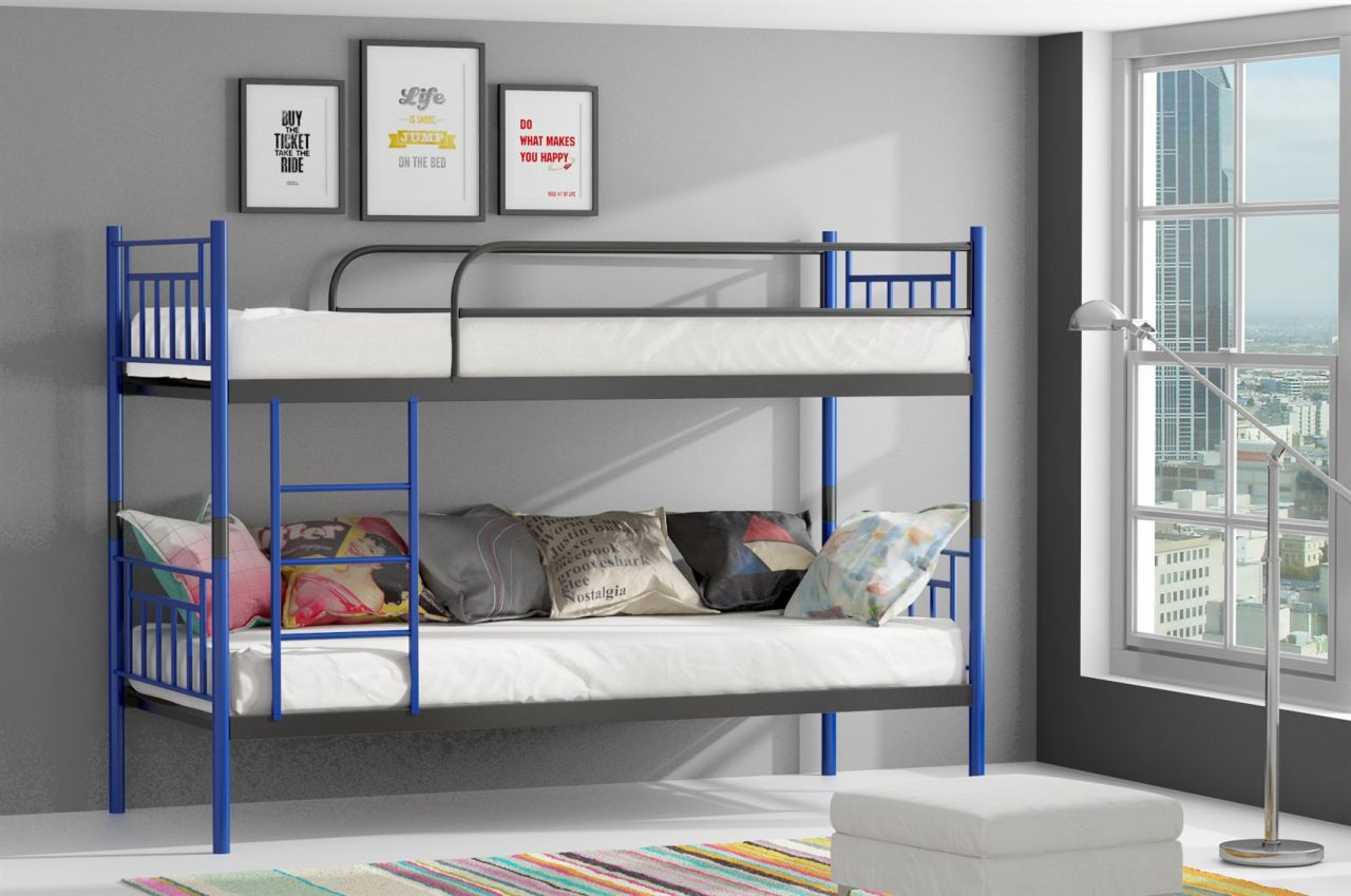 Etagenbett Metall Teilbar : Metallbett darvin blau anthrazit hochbett in zwei einzelbetten