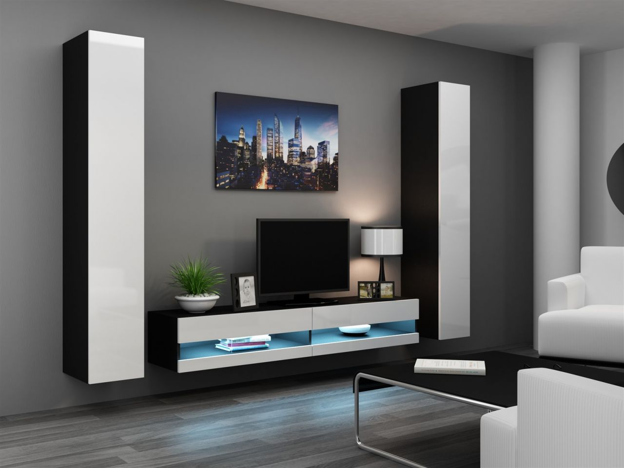 mediawand wohnwand 3 tlg sentic 4 schwarz weiss. Black Bedroom Furniture Sets. Home Design Ideas