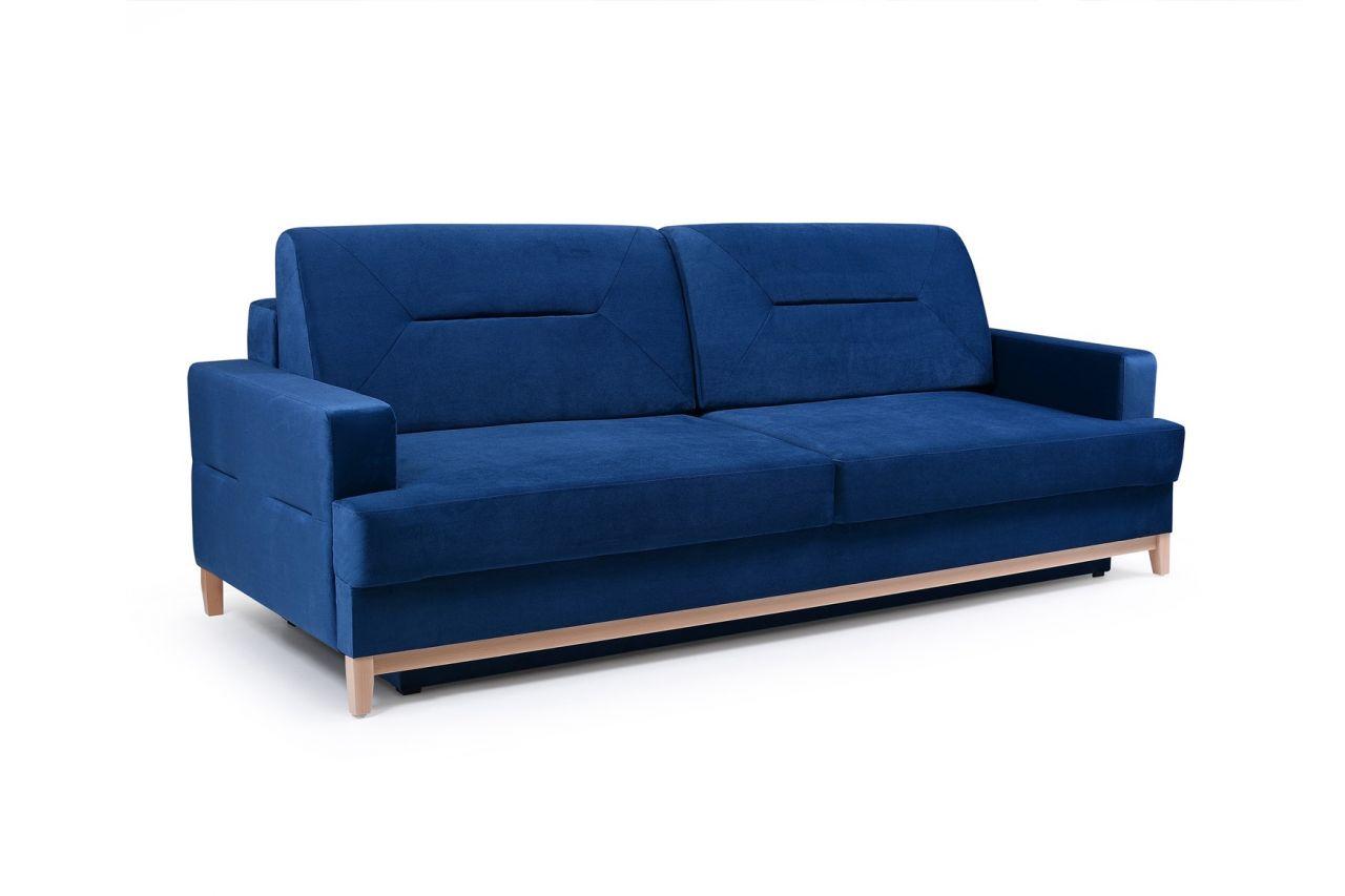 Sofa 3 Sitzer Schlafsofa Luna Stoff Blau
