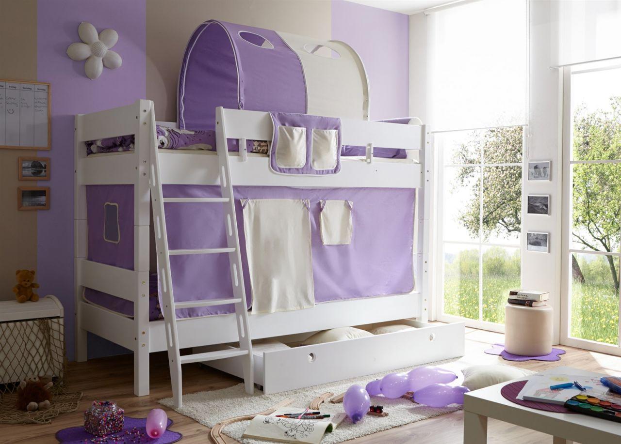 Etagenbett Vorhang : Etagenbett hochbett colin buche massiv weiss inkl.vorhang lila beige