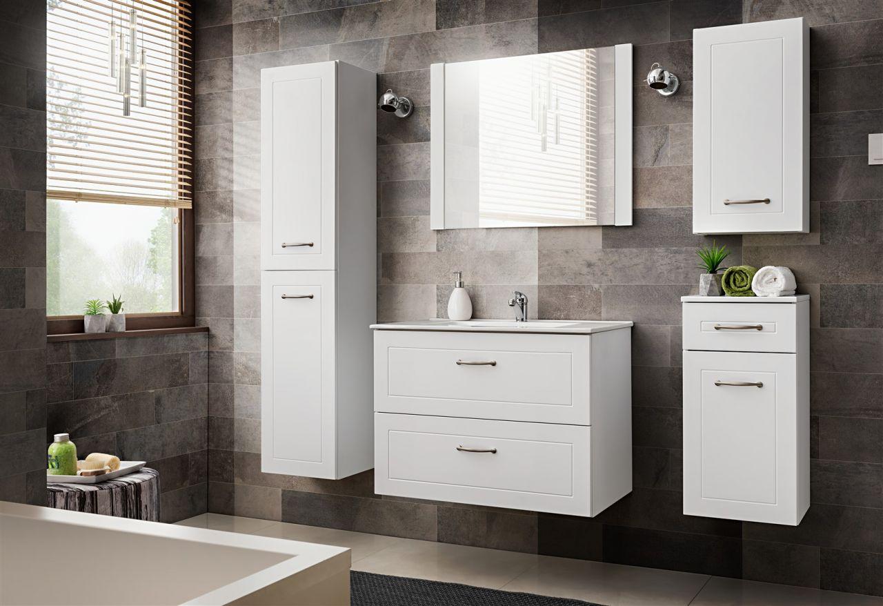 Badezimmer Set Weiß.Badmöbel Set 5 Tlg Badezimmerset Marina Weiss Inkl Waschtisch 80 Cm