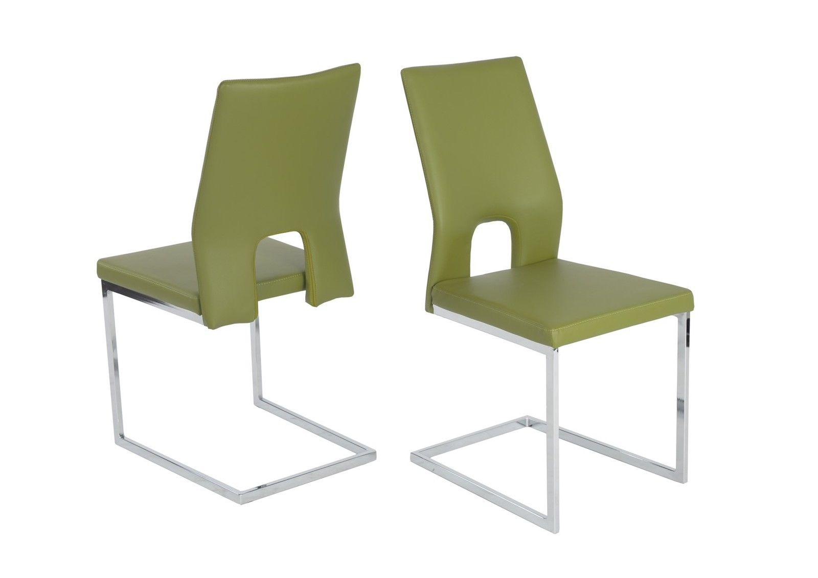 Esszimmerstühle Stühle Freischwinger 4er Set LAURO Kunstleder Grün 1 ...