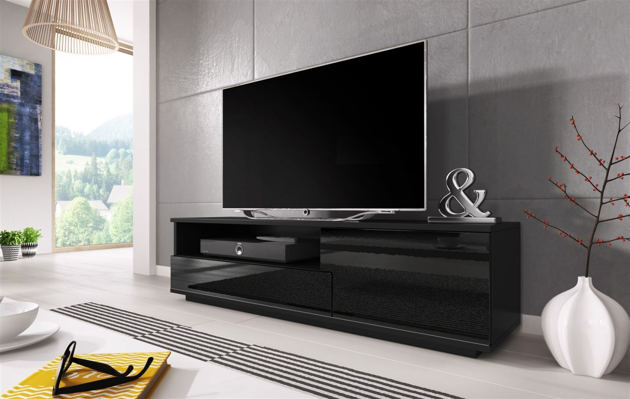 tv board lowboard zuma schwarz hochglanz 138cm kaufen. Black Bedroom Furniture Sets. Home Design Ideas