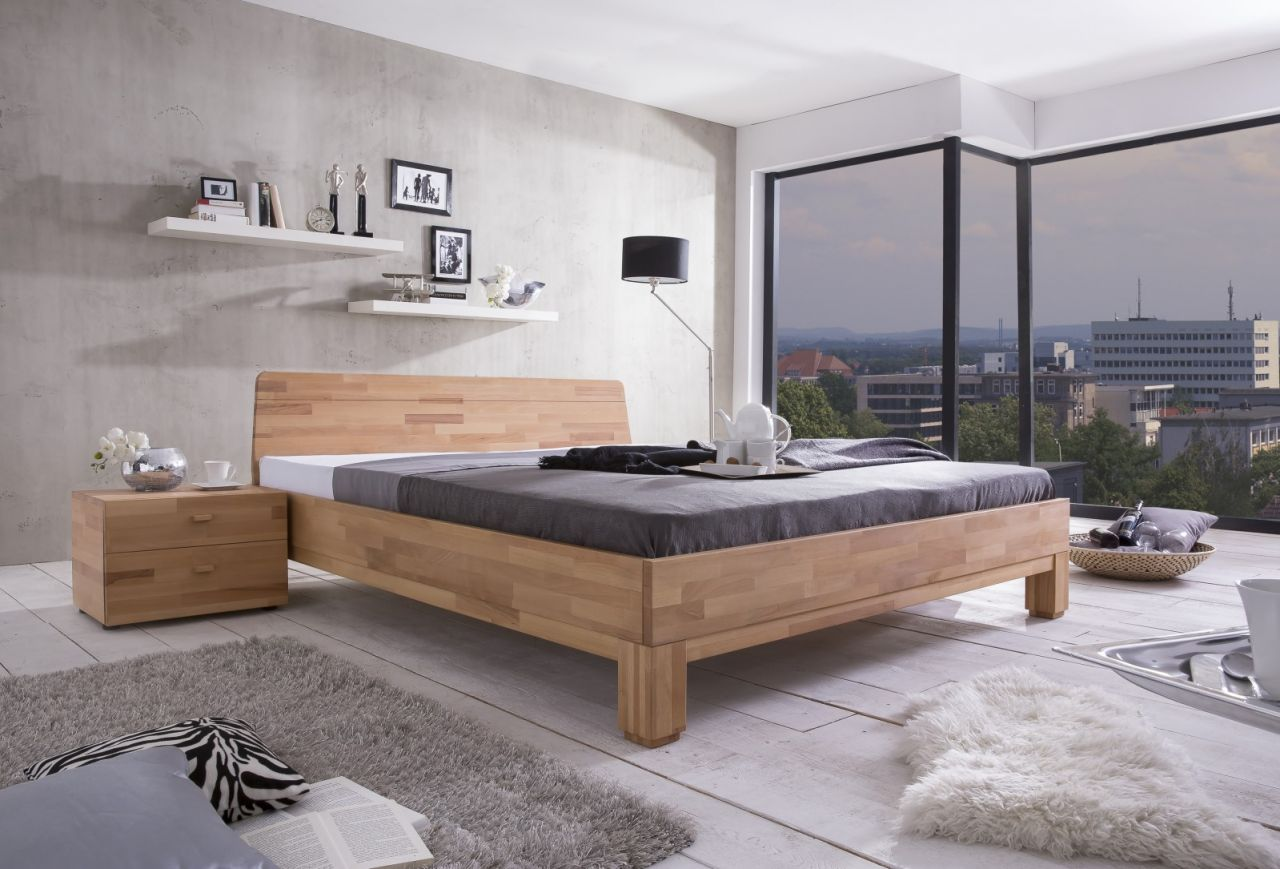 Massivholzbett Schlafzimmerbett - IVO - Bett Kernbuche 140x200 cm ...