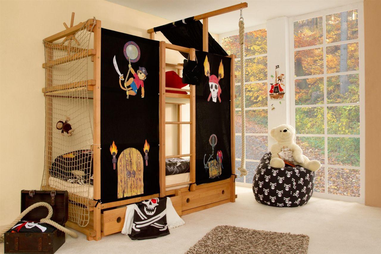 Abenteuer Etagenbett : Hochbett etagenbett komplett set abenteuer und piratenbett buche