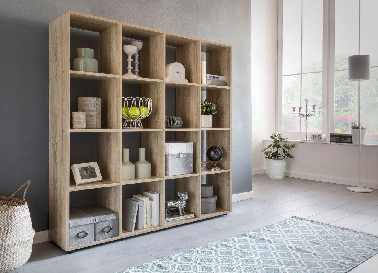 Bücherregal Regal Raumteiler NAOLO 138x29x142cm Sonoma Eiche 16 Fächer