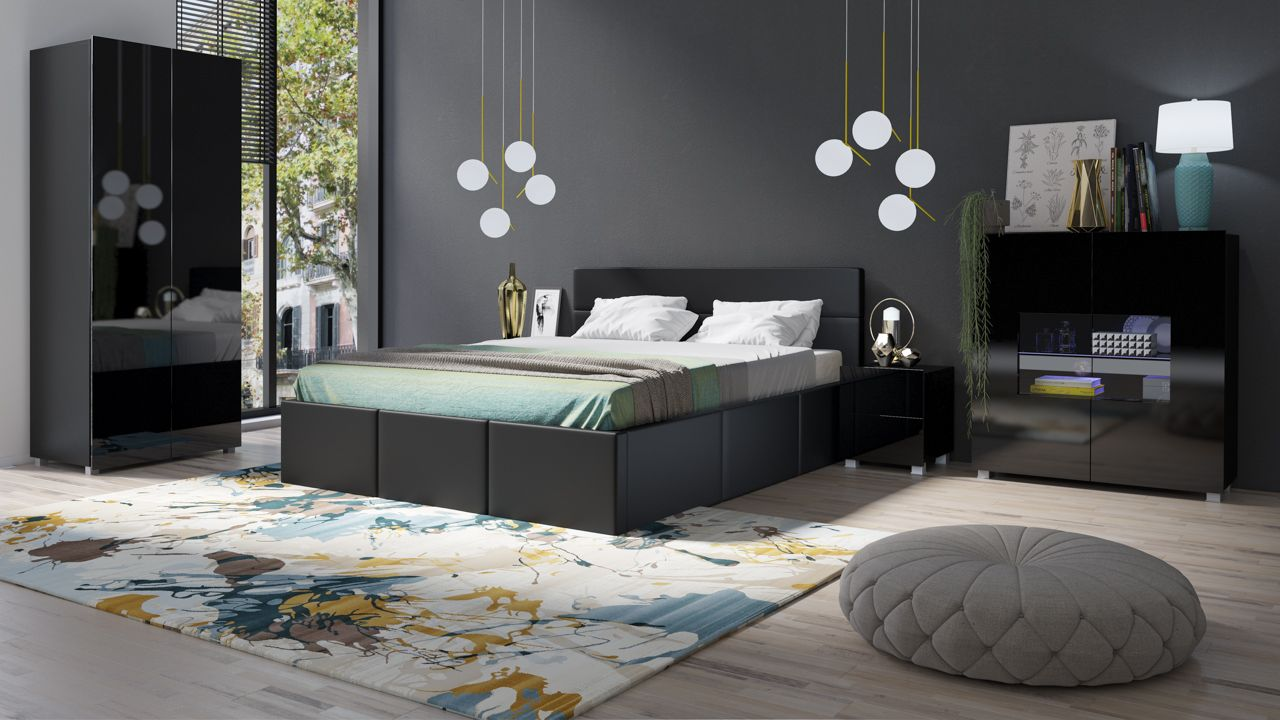 Schlafzimmer Komplett Set 5 tlg LABRI Schwarz- Schwarz Hochglanz