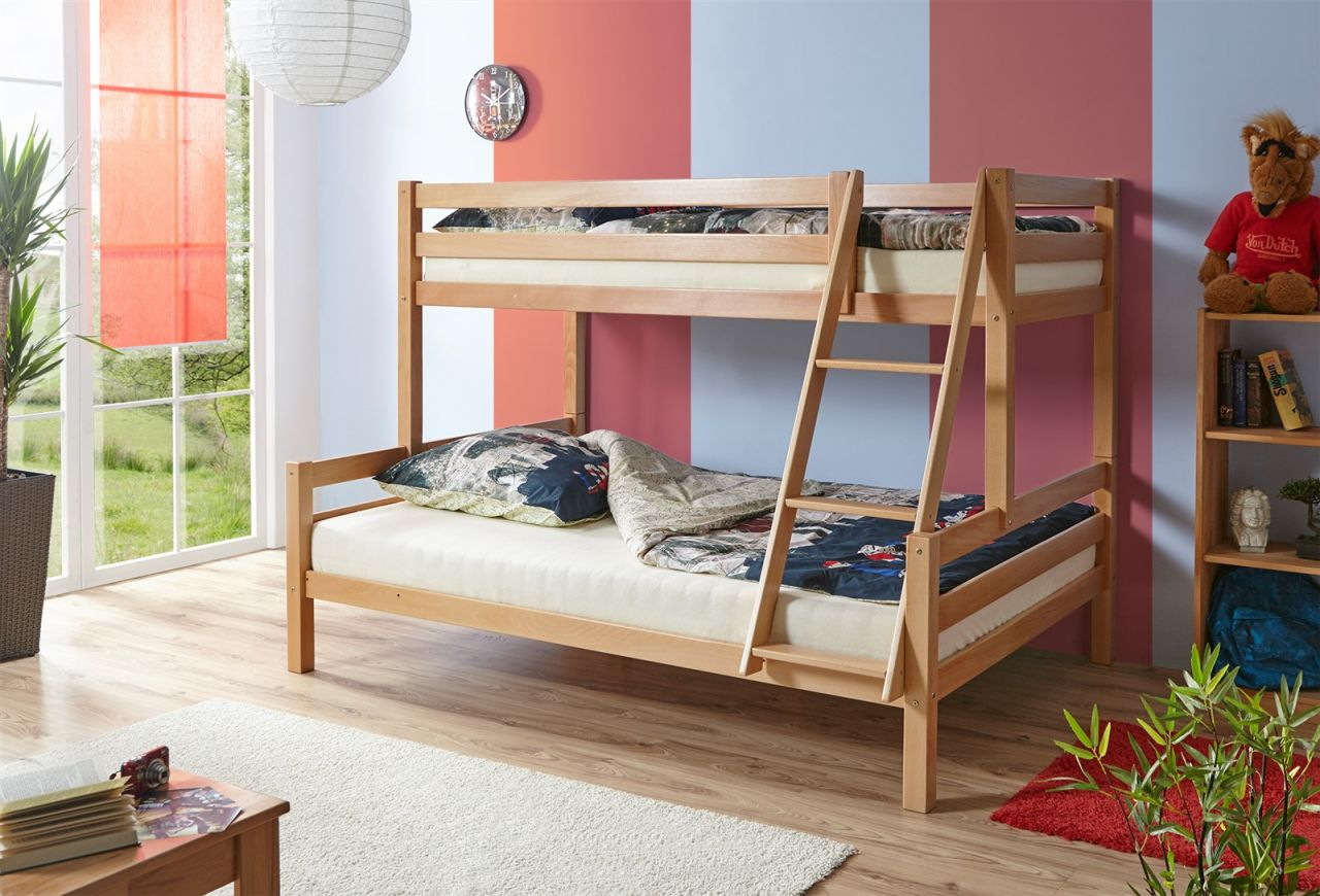 Etagenbett Unten 140 : Etagenbett hochbett mats zwei liegeflächen und cm buche