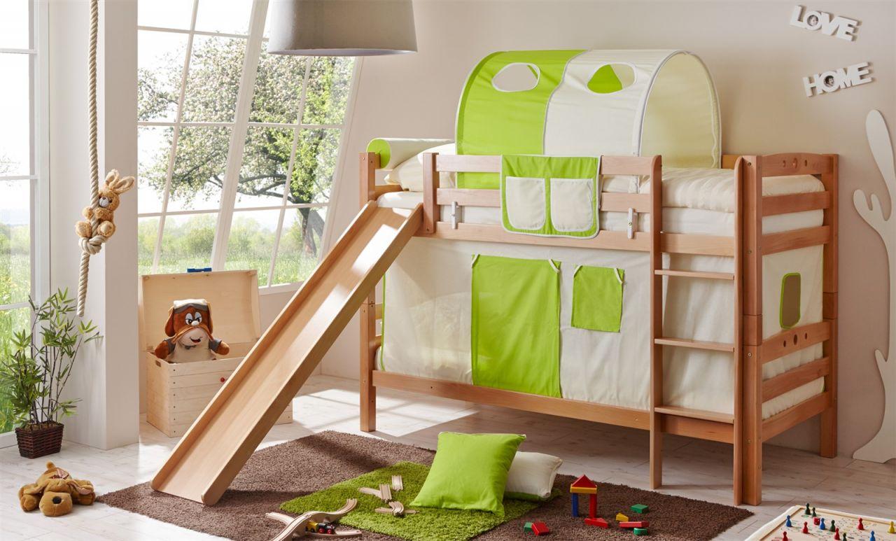 Etagenbett Buche Natur : Etagenbett oli mit rutsche buche natur inkl.vorhang beige grün