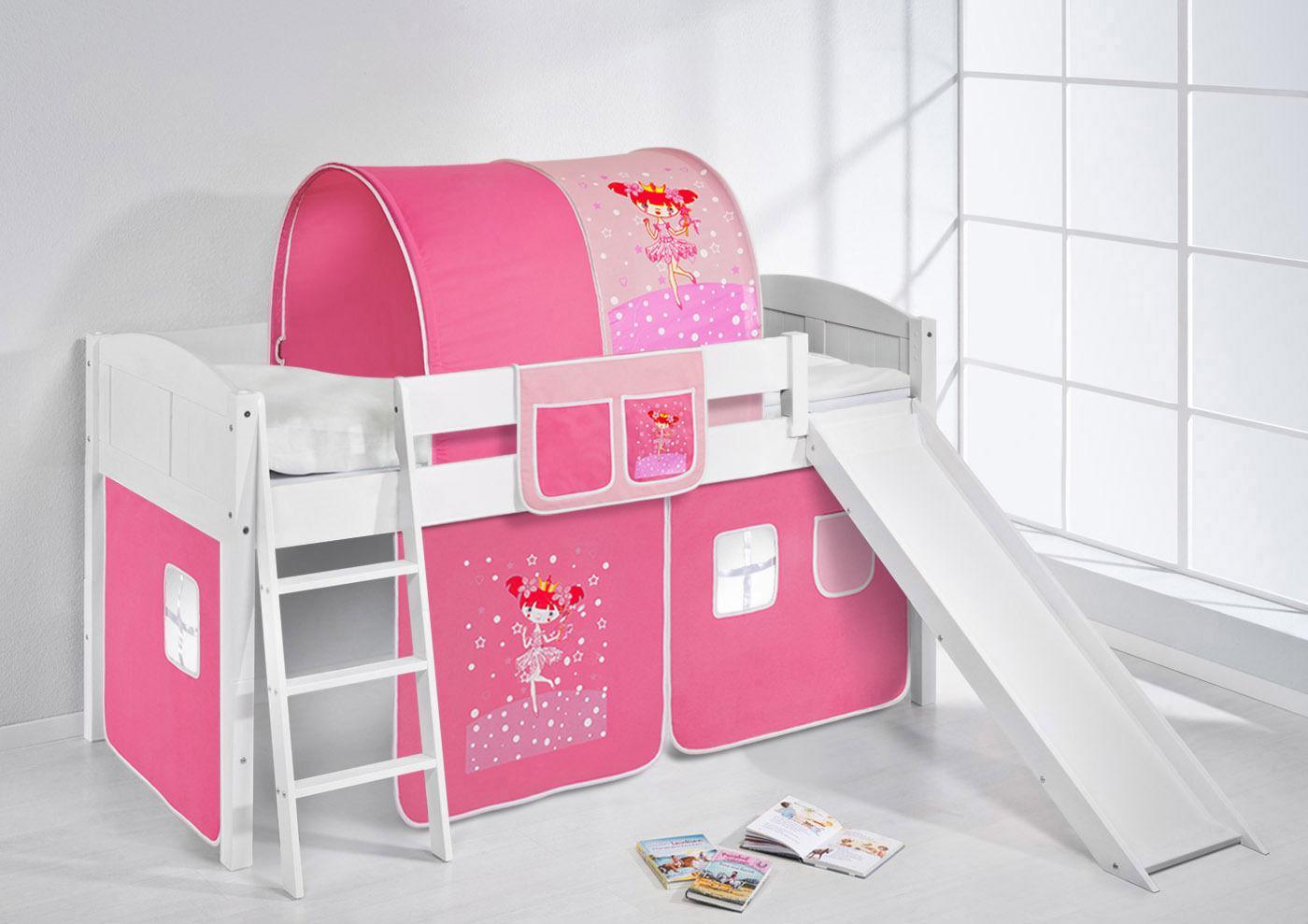 spielbett mit rutsche landi r zauberfee kiefer weiss mit vorhang kaufen bei sylwia. Black Bedroom Furniture Sets. Home Design Ideas