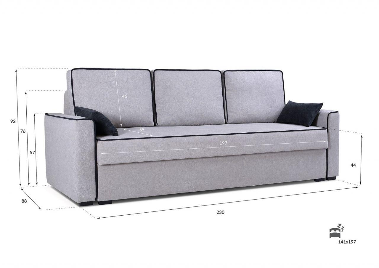 Sofa 3 Sitzer Schlafsofa Carlota Stoff Hellgrau Kaufen Bei Sylwia Lesniewska Fun Mobel
