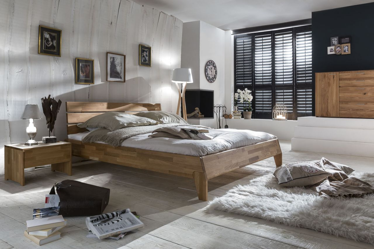 Massivholzbett Schlafzimmerbett - Reni - Bett Wildeiche 140x200 cm ...
