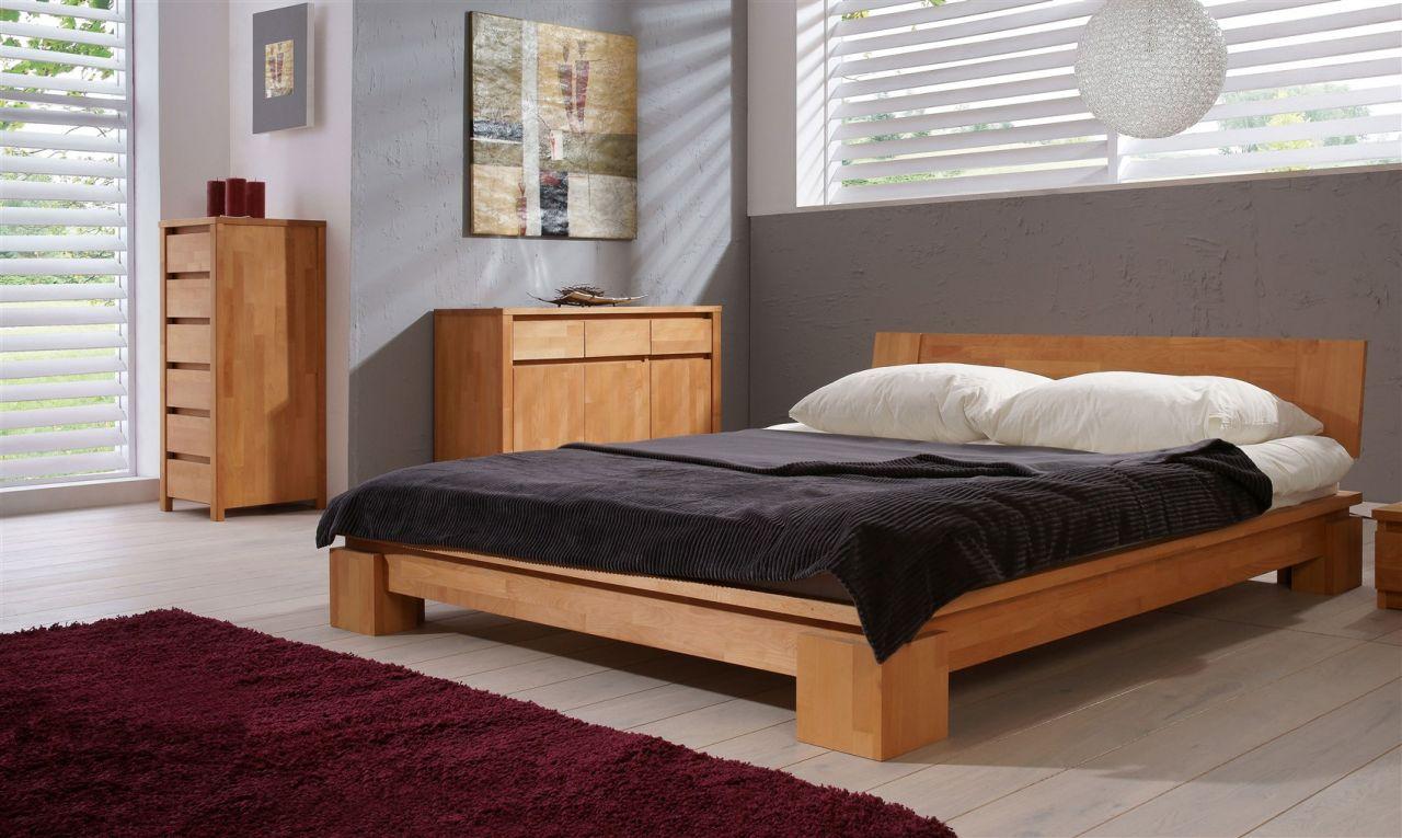 Massivholzbett Bett Schlafzimmerbet Maison Buche Massiv 120x200 Cm