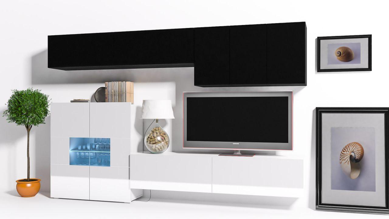 Mediawand Wohnwand 8 Tlg   Konzept 16   Weiss / Schwarz Hochglanz +LED 1 ...